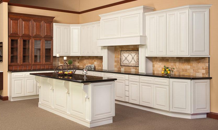 Charleston Antique White Birch Kitchen Cabinets