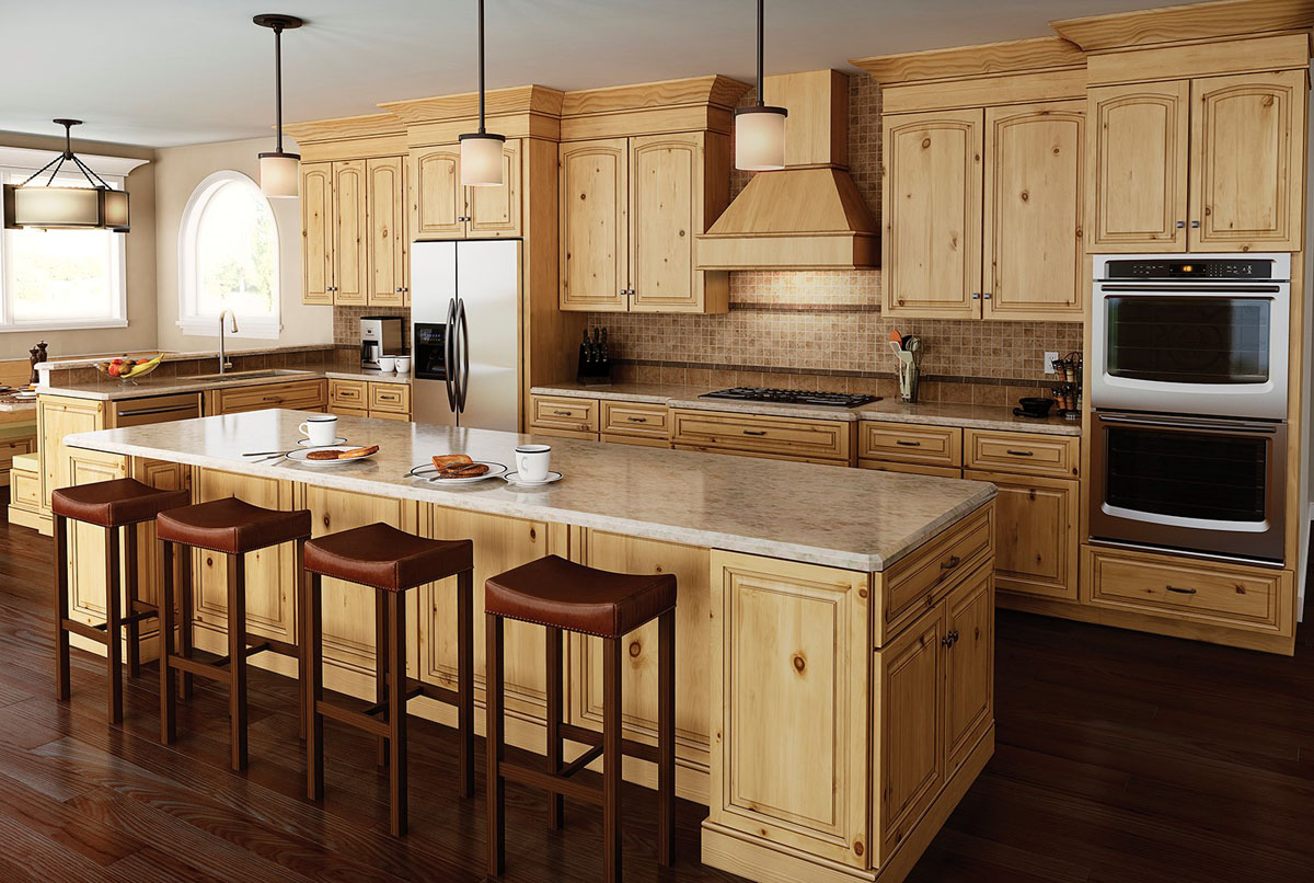 Langdon slab arch alder kitchen cabinets detroit mi for Arch kitchen cabinets