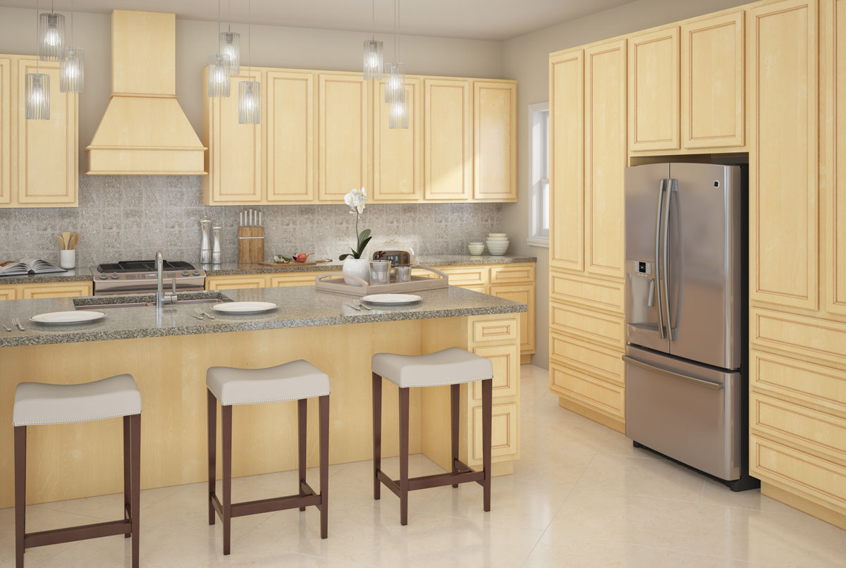 Kitchen red birch cabinets quartz live wood edge for Birch wood kitchen cabinets